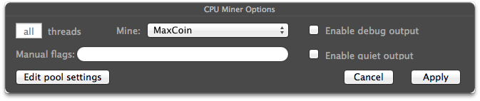 Mac Miner Settings