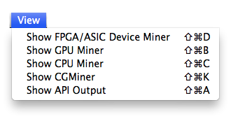 CPU, GPU and FPGA/ASIC choice in the view menu